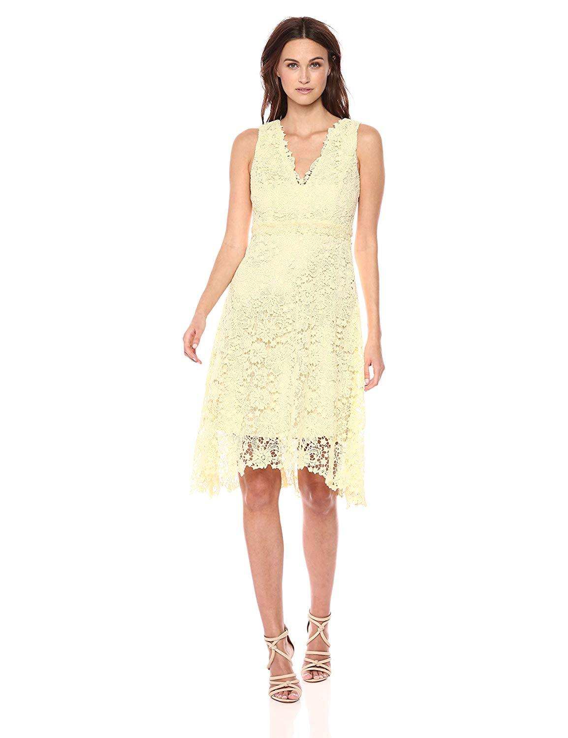 Donna Morgan - D5970M V Neck Sleeveless Floral Crochet Lace Dress In Yellow
