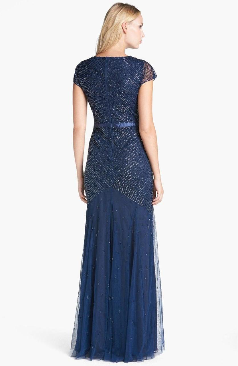 Adrianna Papell - Sequined V Neck Long Dress 91885900 in Blue