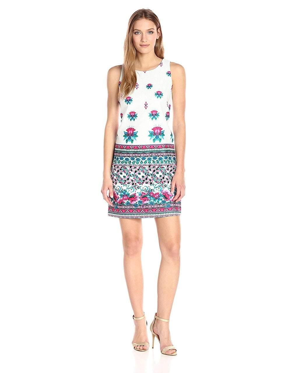 Taylor - Printed Jewel Neck Sheath Dress 8834M in Multi-Color