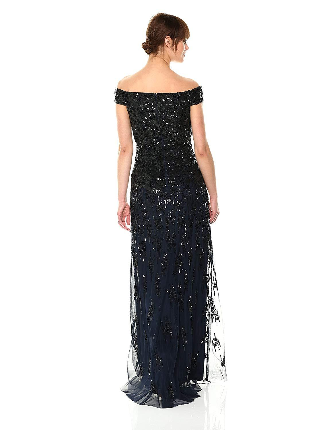 Adrianna Papell - AP1E202441 Embellished Off-Shoulder Evening Gown In Blue and Black