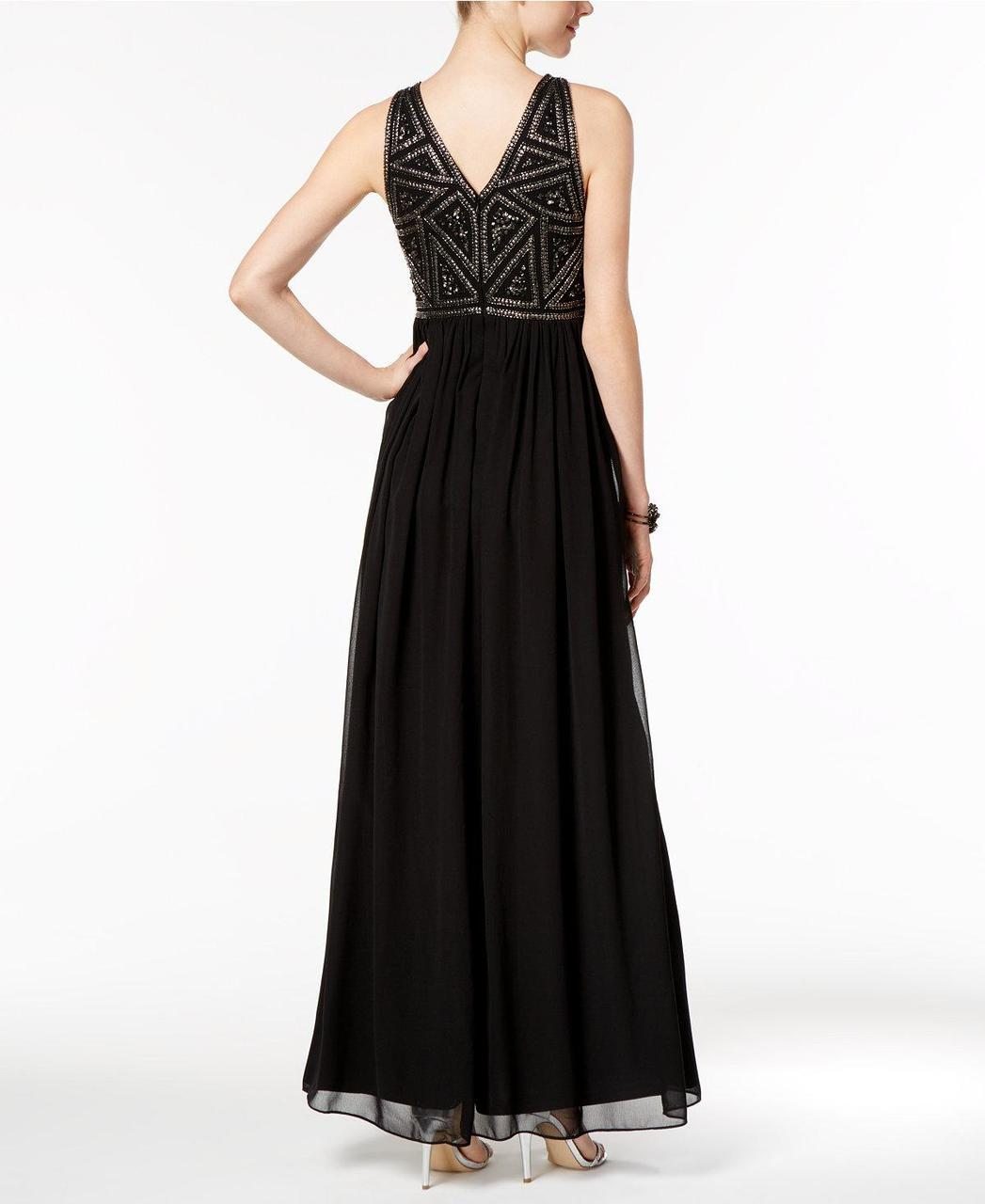 Adrianna Papell - 191910790 Embellished Jewel Ruched Gown in Black