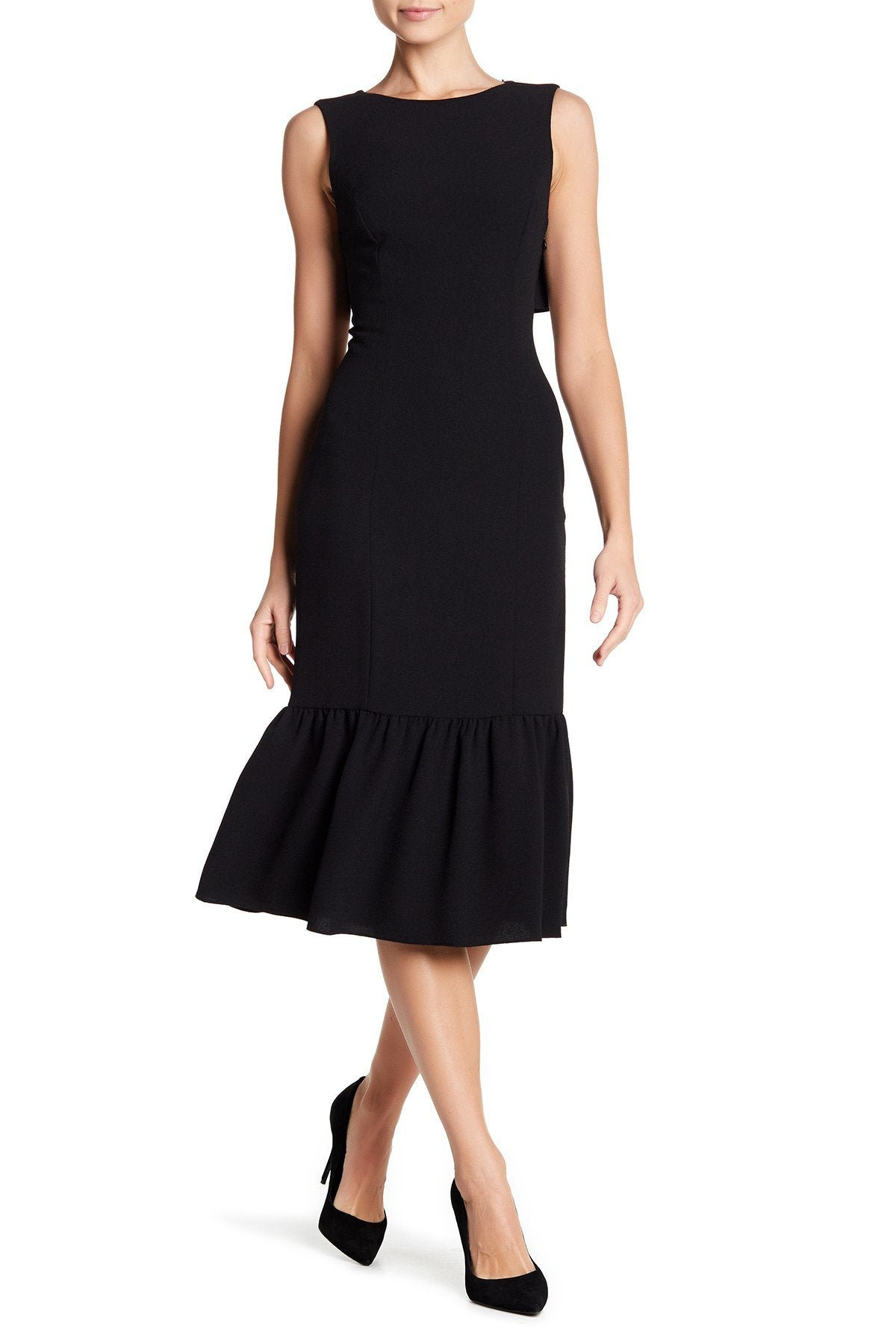 Adrianna Papell - AP1D100650 Ruffle Paneled Hem Sheath Dress In Black