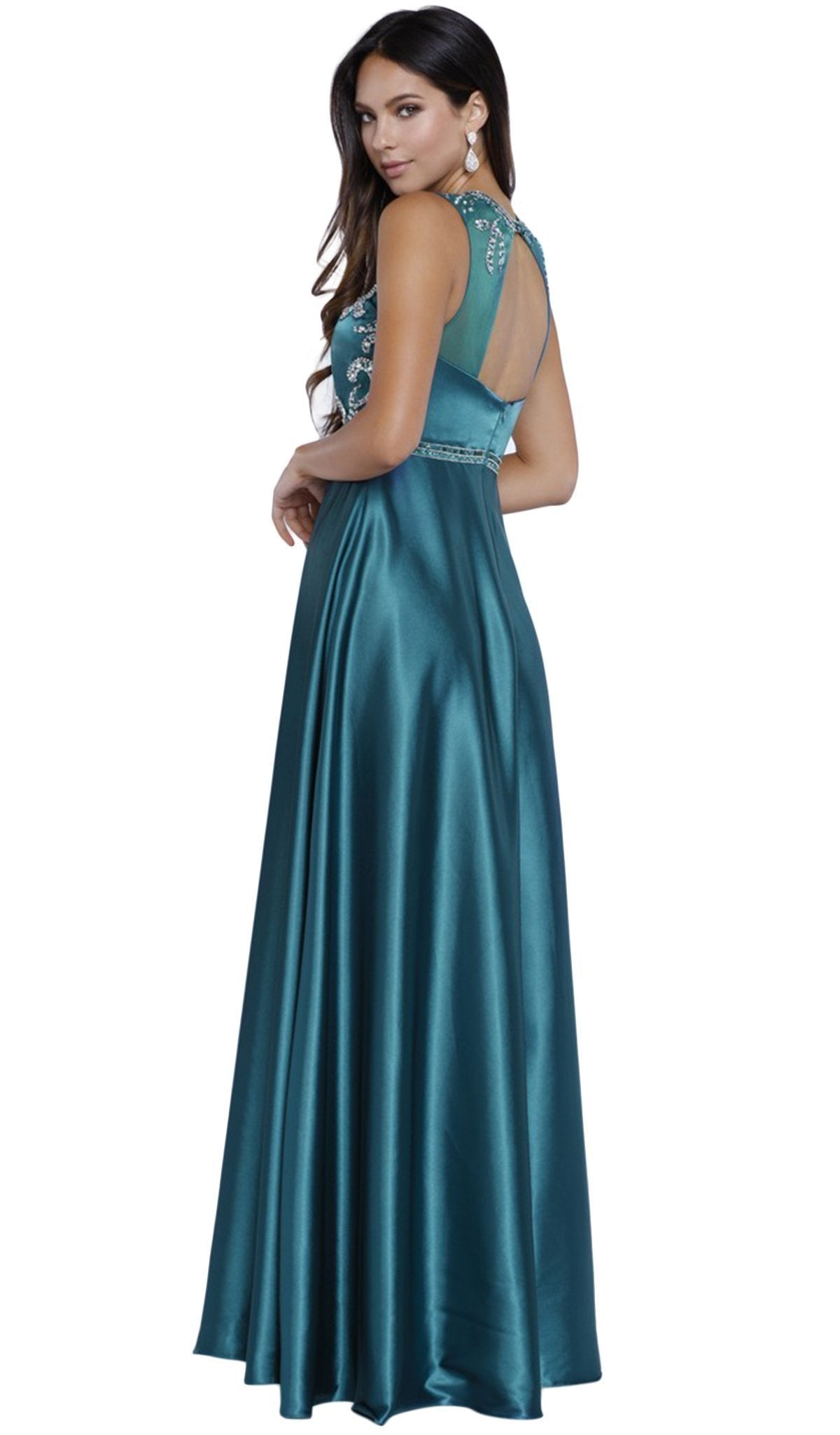 Nox Anabel - Embellished Satin A-line Dress 8188SC