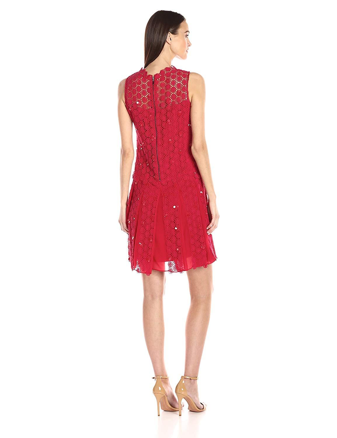 Elie Tahari - E41VA607 Embellished Crochet A-line Dress In Red