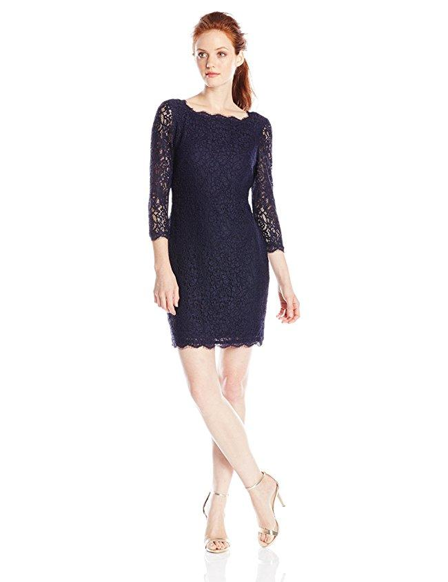 Adrianna Papell - Quarter Length Sleeve Lace Dress 41864780 in Black