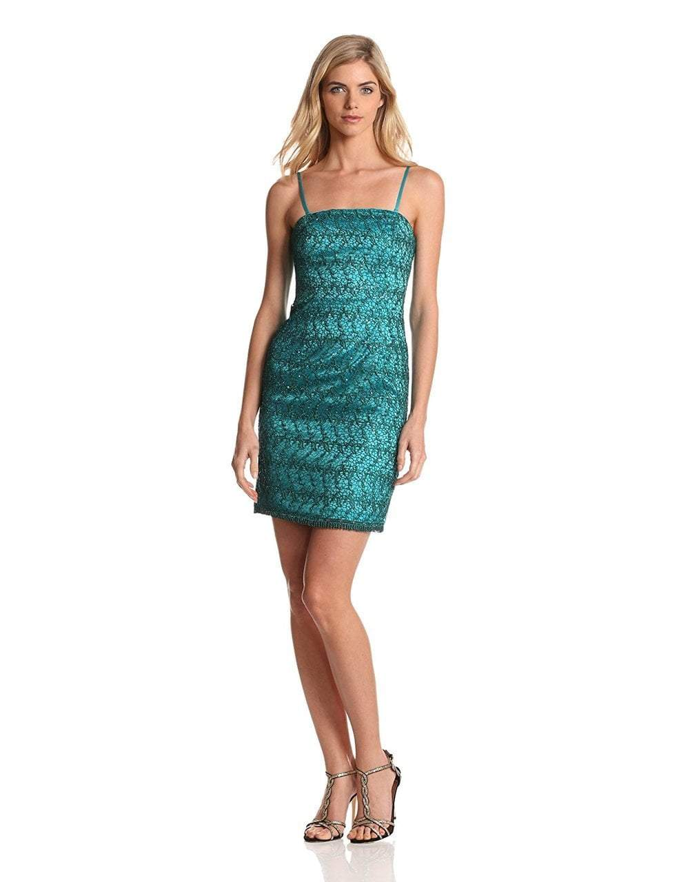 Adrianna Papell - 41872340 Strapless Sequined Lace Cocktail Dress in Green