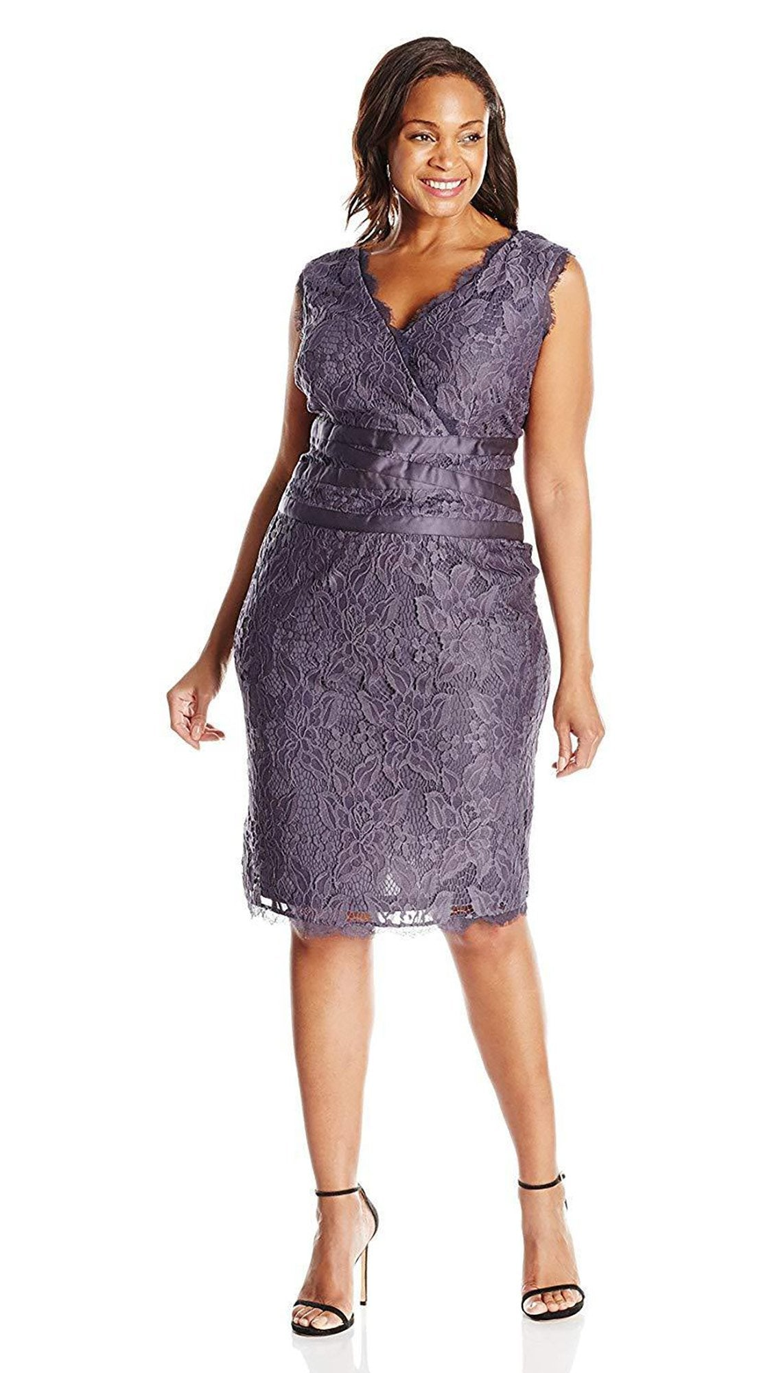 Adrianna Papell - 41905221SC Knee Length Satin Wrap Waist Lace Dress