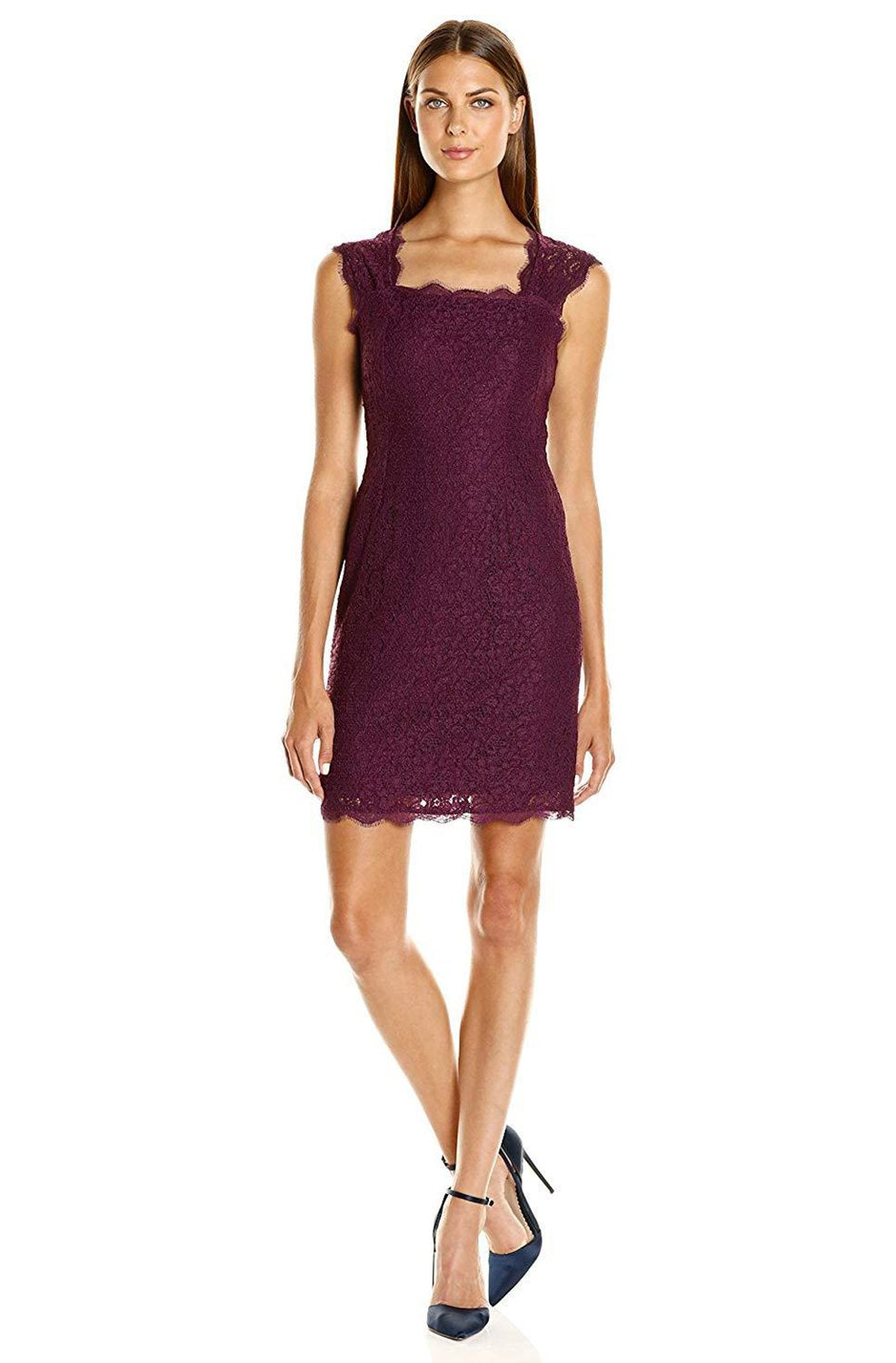 Adrianna Papell - 41895460 Floral Lace Square Neck Cutout Dress In Purple