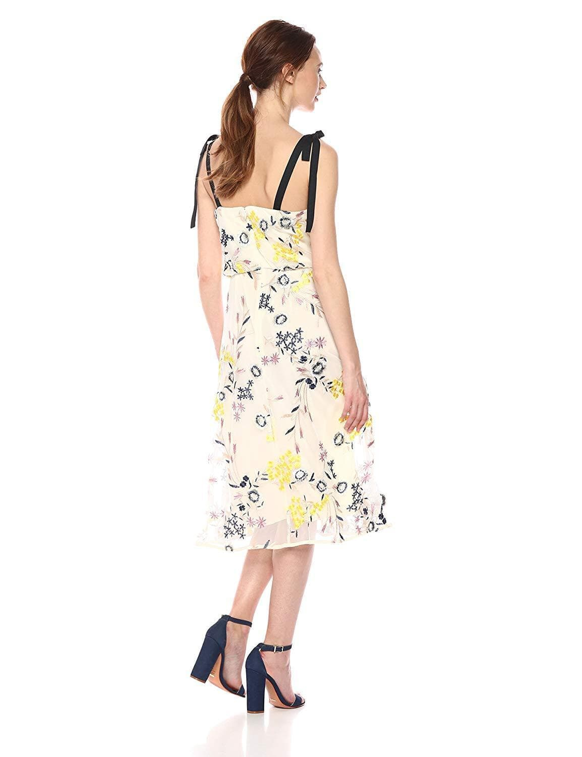 Donna Morgan - D5845M Embroidered V-neck A-line Dress In Yellow and Multi-Color