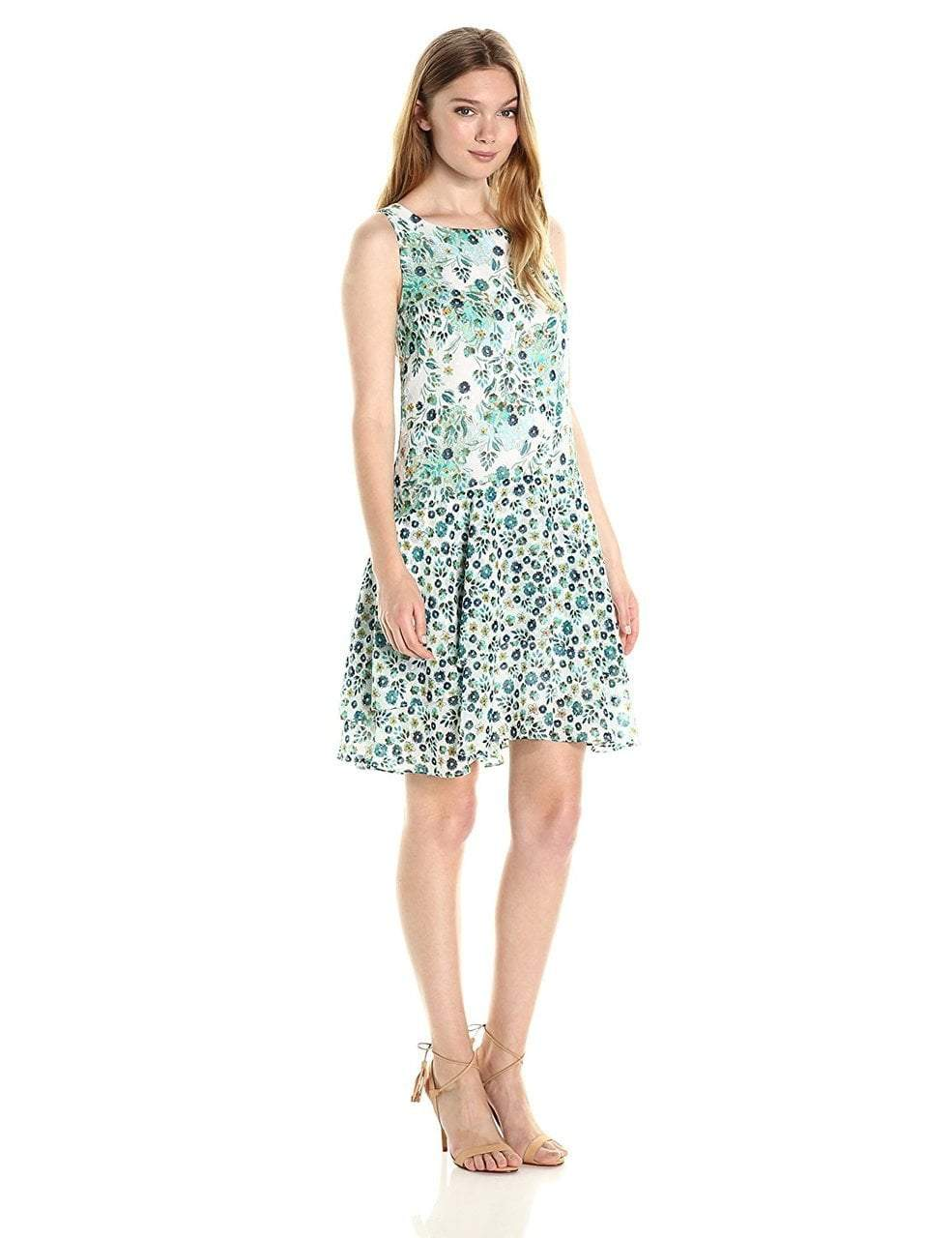 Donna Morgan - D5166M Printed Chiffon A-line Dress in Green and Multi-Color