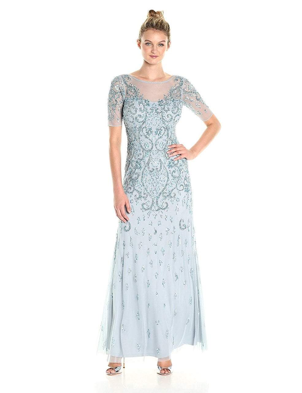 Adrianna Papell - AP1E201314 Quarter Sleeve Embellished Evening Gown in Blue