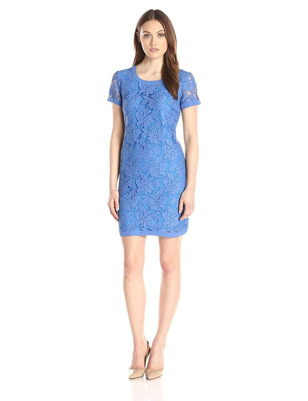 Donna Morgan - D3287M Floral Lace Short Sleeve Dress in Blue
