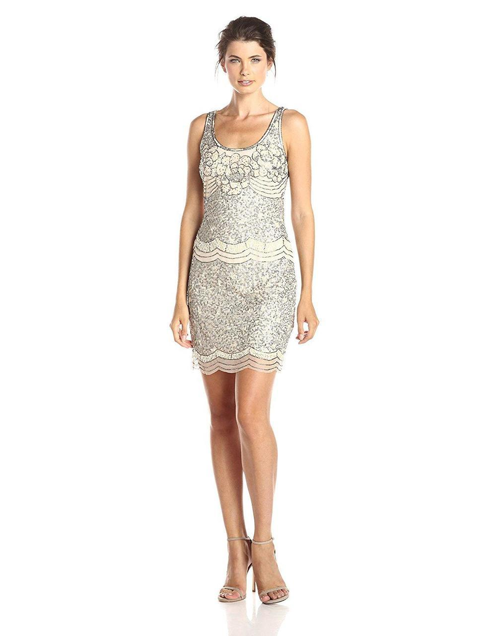 Adrianna Papell - Scalloped Sequins Dress 41912200 in Neutral