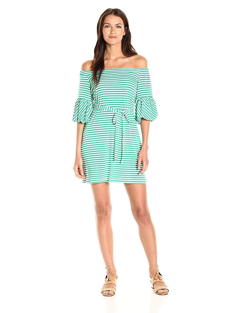 Donna Morgan - D5259M Striped Off Shoulder Bell Sleeve Dress in Green and White