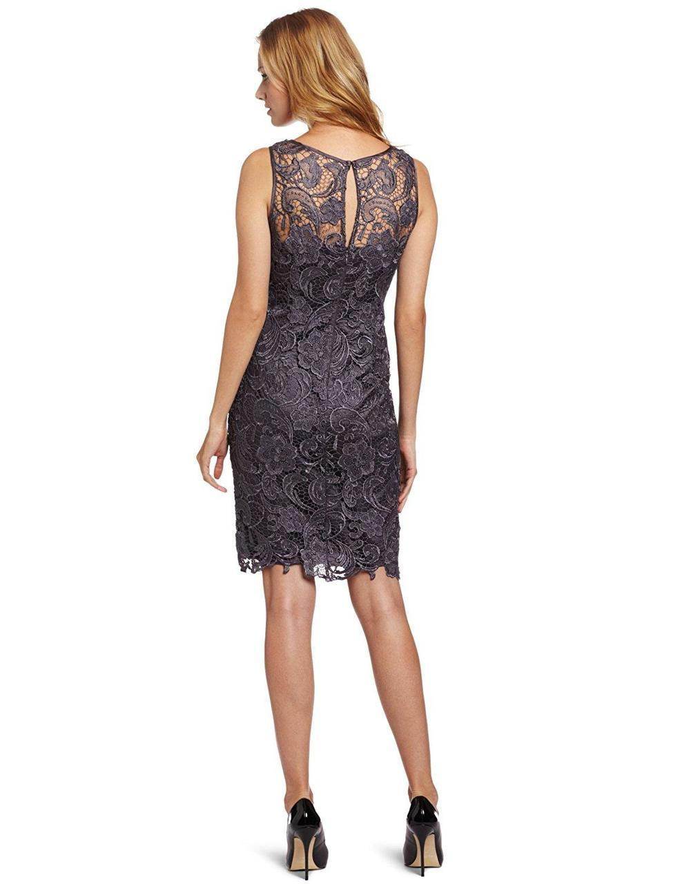 Adrianna Papell - Lace Overlay Dress 41863800 in Gray