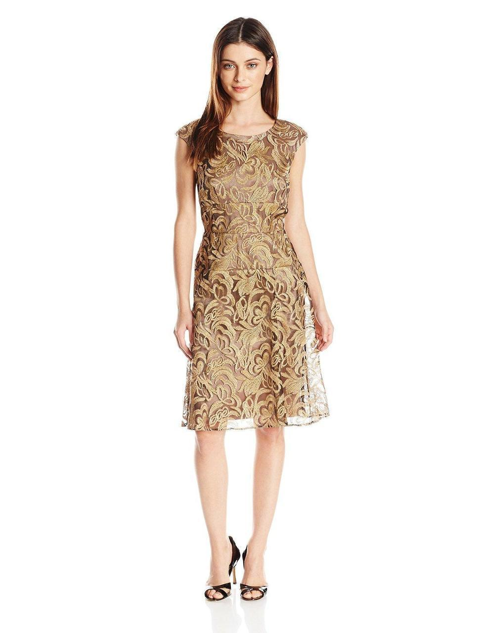 Alex Evenings - Floral Embroidered Bateau A-line Dress in Brown