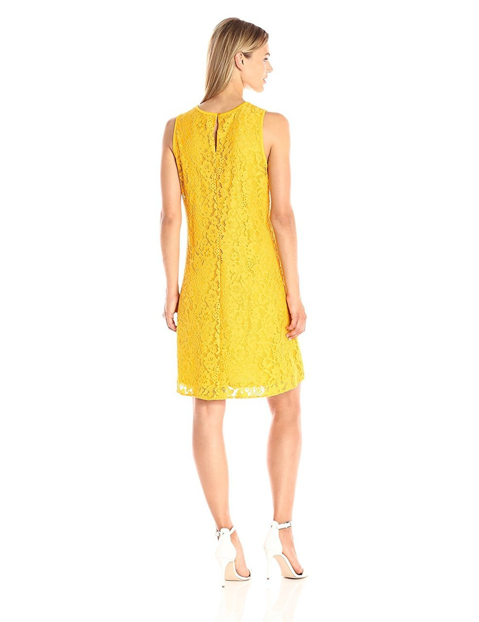 Nine West - 10647202 Sleeveless Floral Lace Cocktail Dress in Yellow