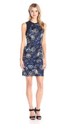 Adrianna Papell - 16PD12240SC Floral Print Jewel Neck Short Dress