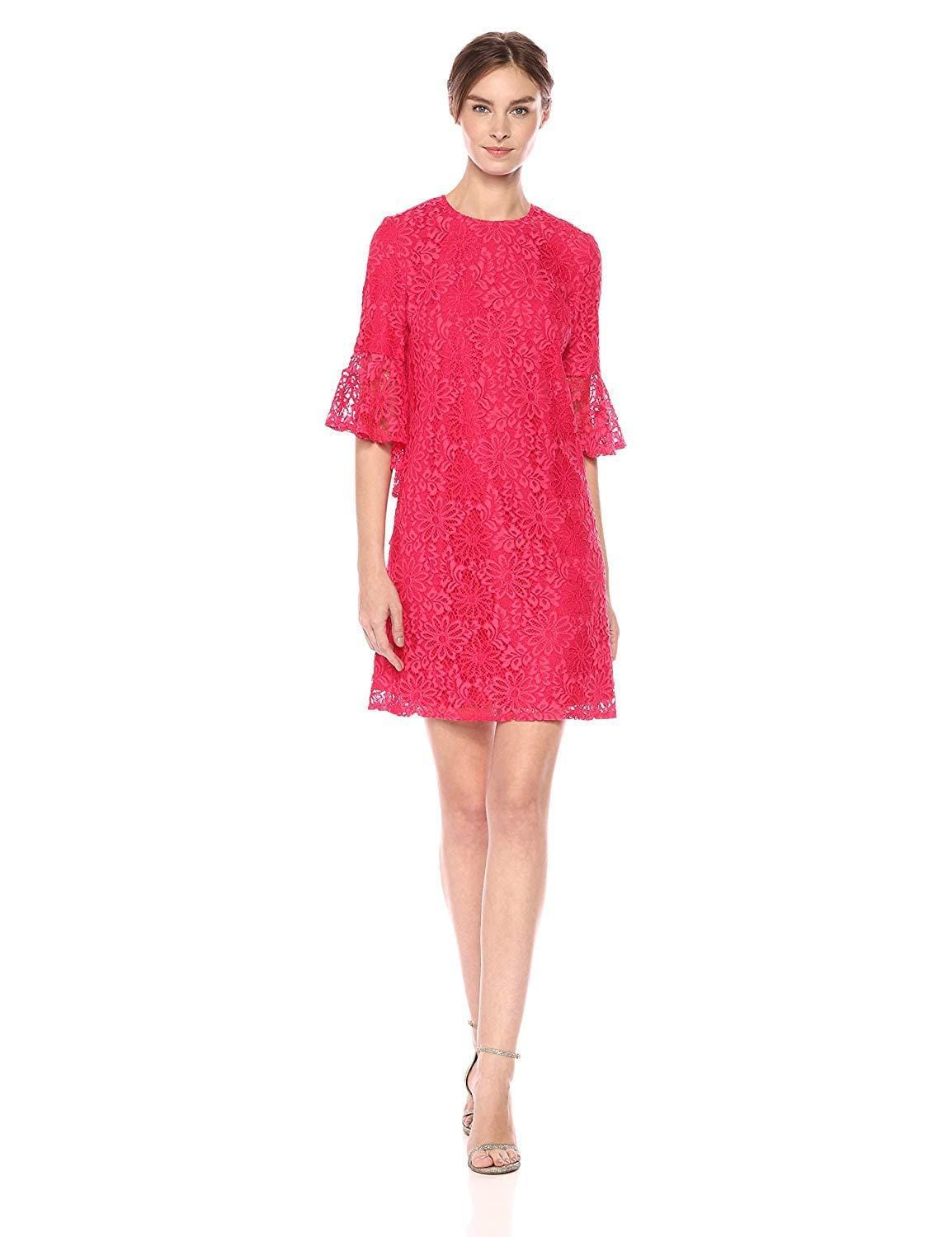 Nanette Nanette Lepore - ND8S10S99 Bell Sleeve Lace Shift Dress In Red