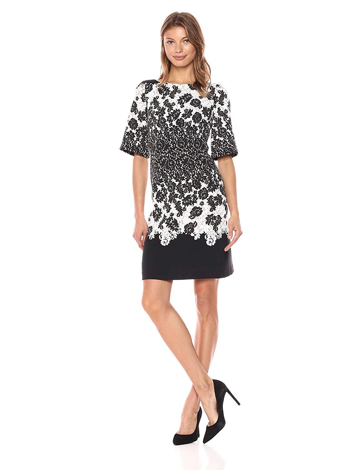 Adrianna Papell - AP1D101503 Lace Print Bateau Cocktail Dress In Black and Multi-Color