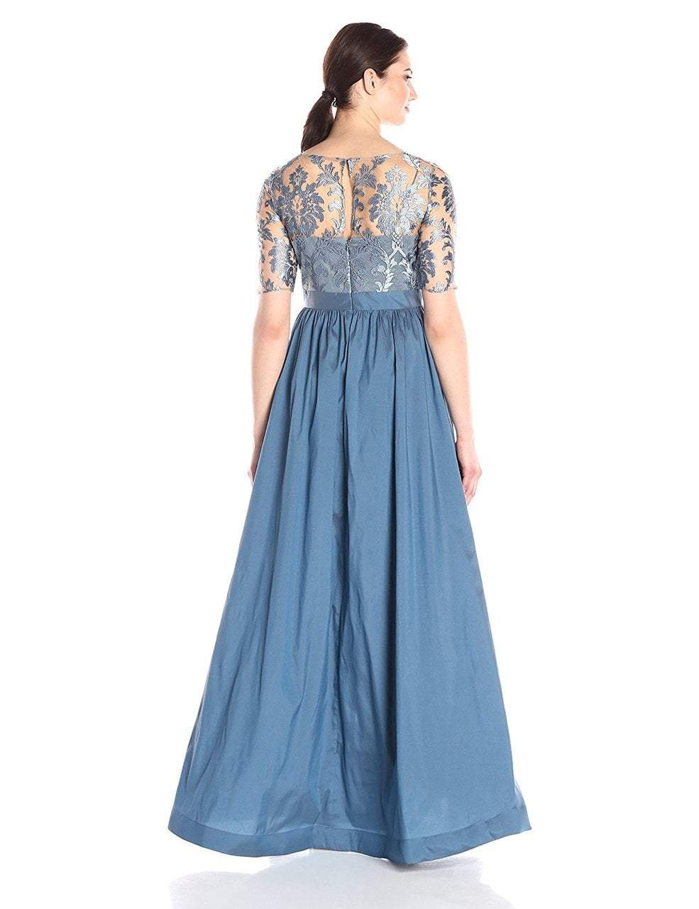 Adrianna Papell - 81920870 Lace Illusion Bateau Taffeta A-line Dress in Blue
