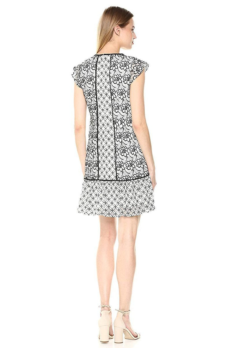 Adrianna Papell - AP1D101943 Floral Lace Jewel Cocktail Dress In White and Black