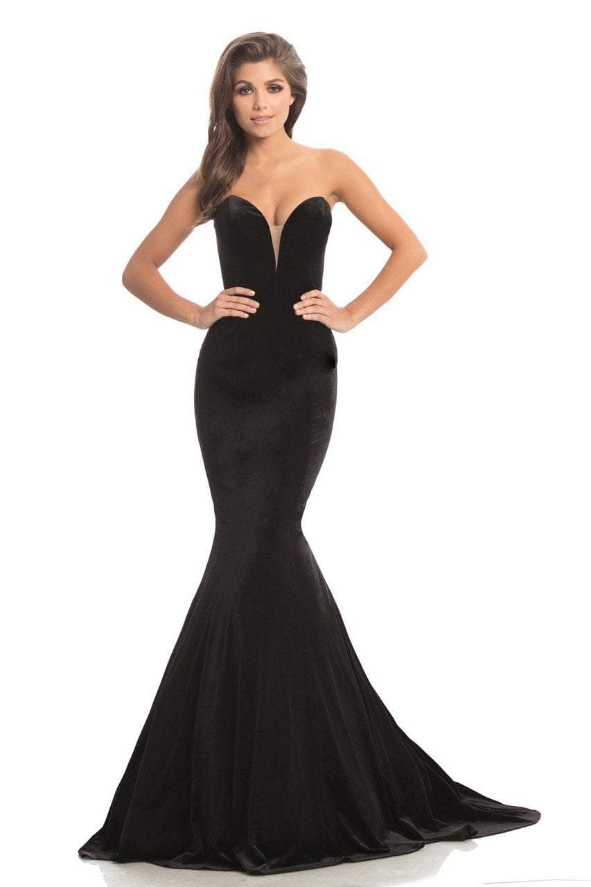 Johnathan Kayne - 8201 Deep Sweetheart Mermaid Gown With Beaded Cape in Black