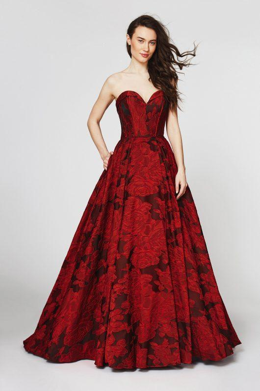Angela & Alison - Floral Applique A-Line Evening Gown 82069 In Red and Floral