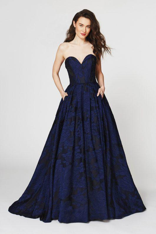 Angela & Alison - 82069SC Floral Accented Strapless Evening Gown