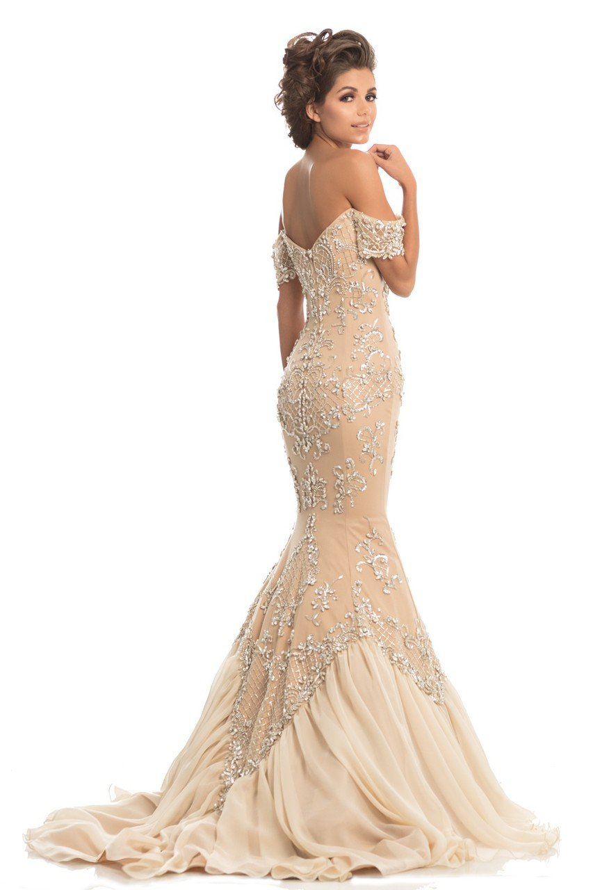 Johnathan Kayne - 8211 Crystal Adorned Off Shoulder Mermaid Gown in Neutral