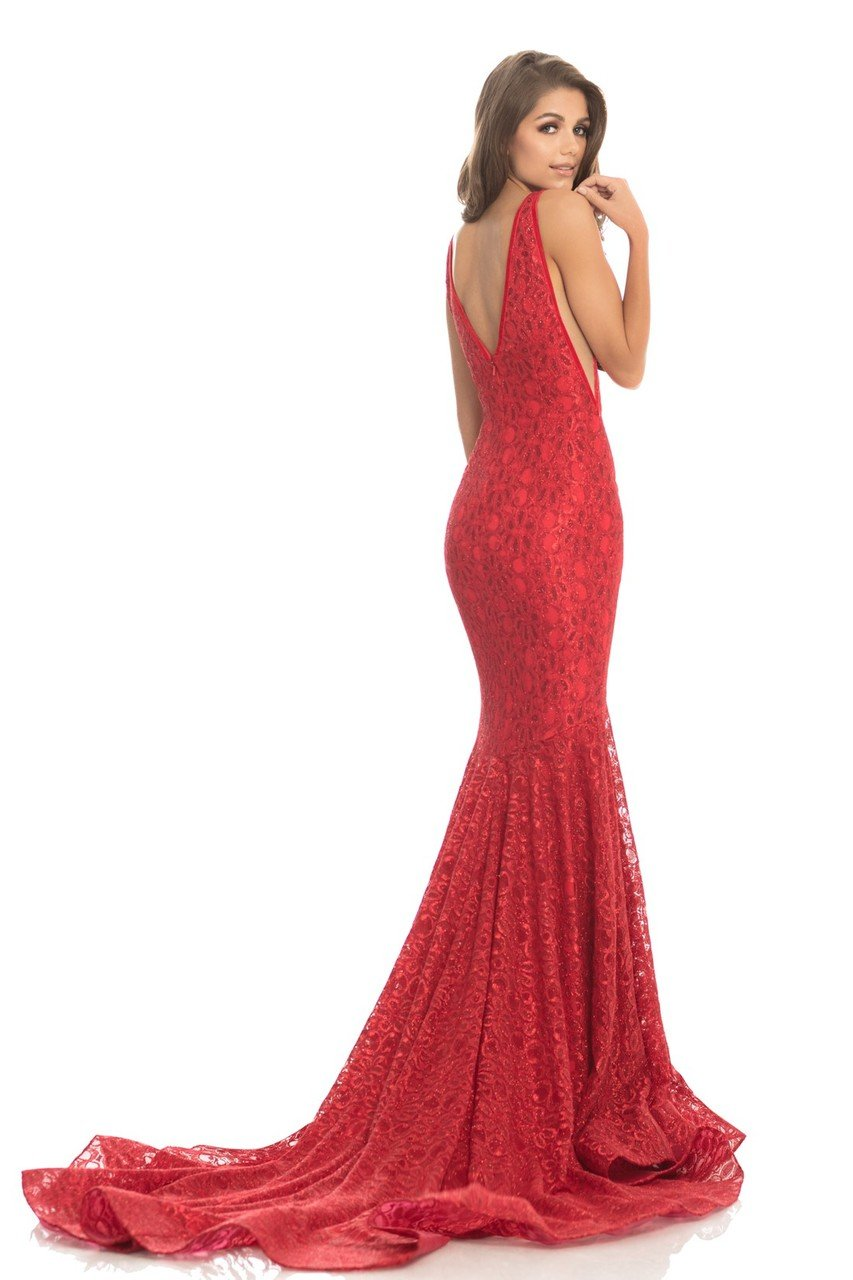 Johnathan Kayne - 8218 Deep V-neck Glitter Lace Mermaid Gown in Red