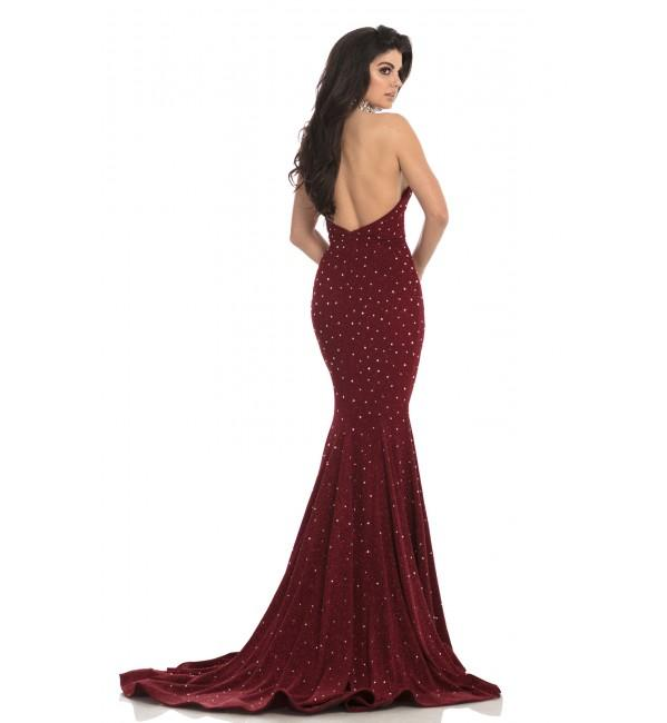 Johnathan Kayne - 8235 Bedazzled High Halter Mermaid Gown in Red