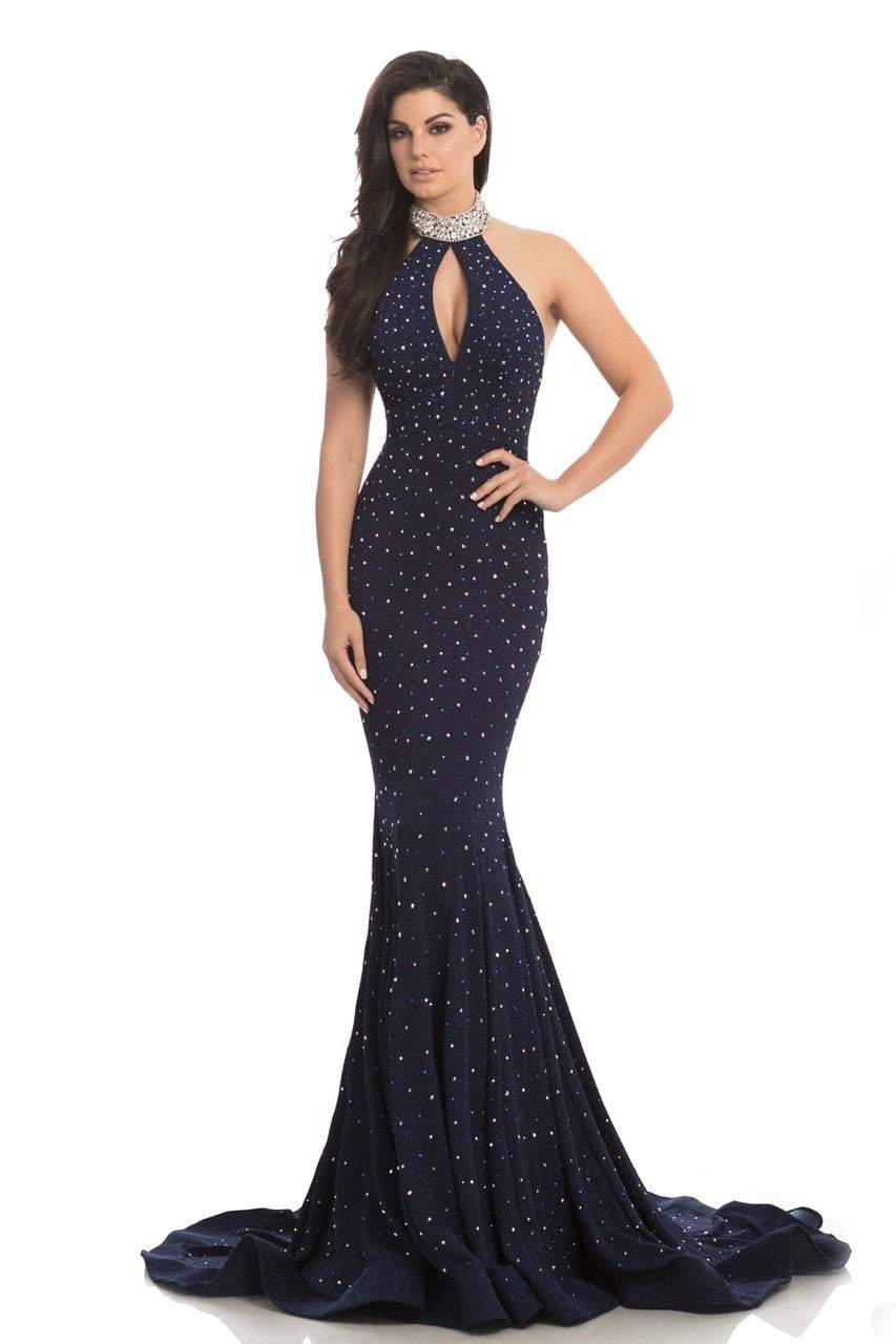Johnathan Kayne - 8235 Bedazzled High Halter Mermaid Gown in Blue