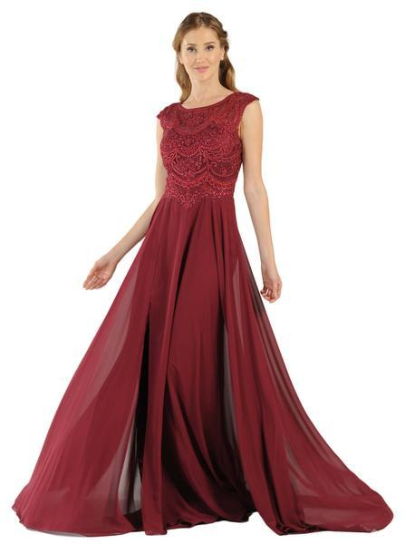 Poly USA - Cap Sleeve Embroidered Illusion Chiffon Gown 8254 In Red