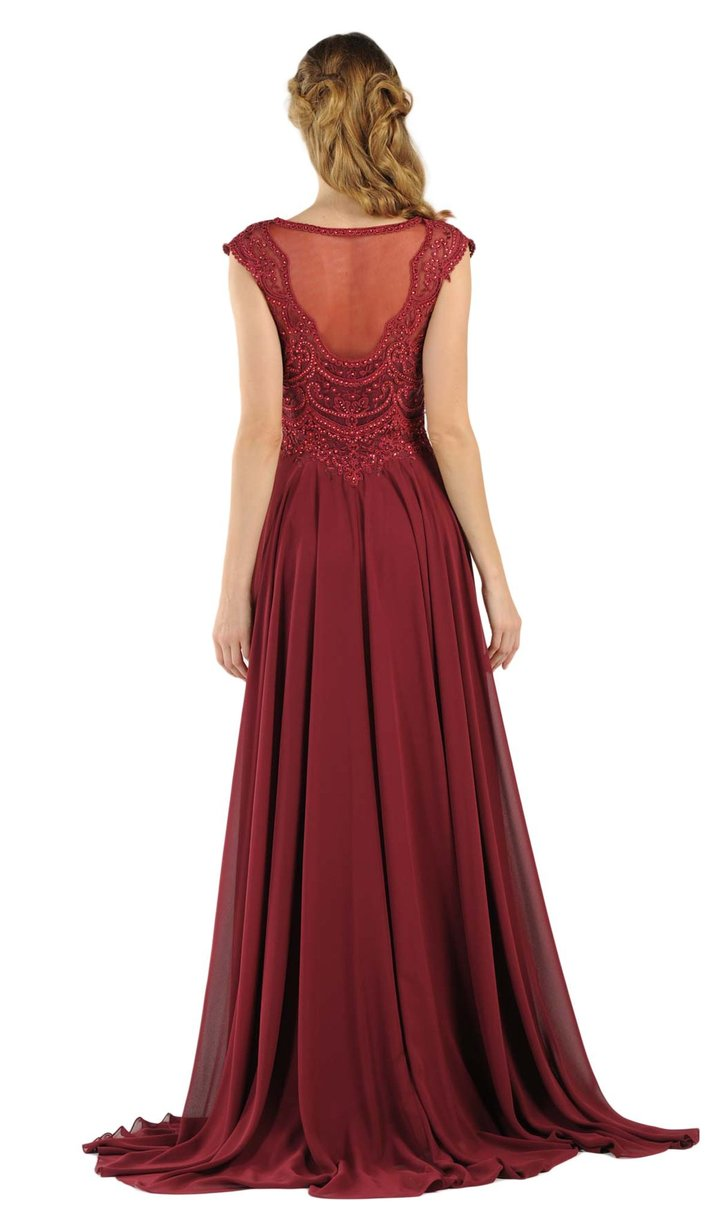 Poly USA - 8254SC Lace Embroidered Illusion Bateau Chiffon Gown