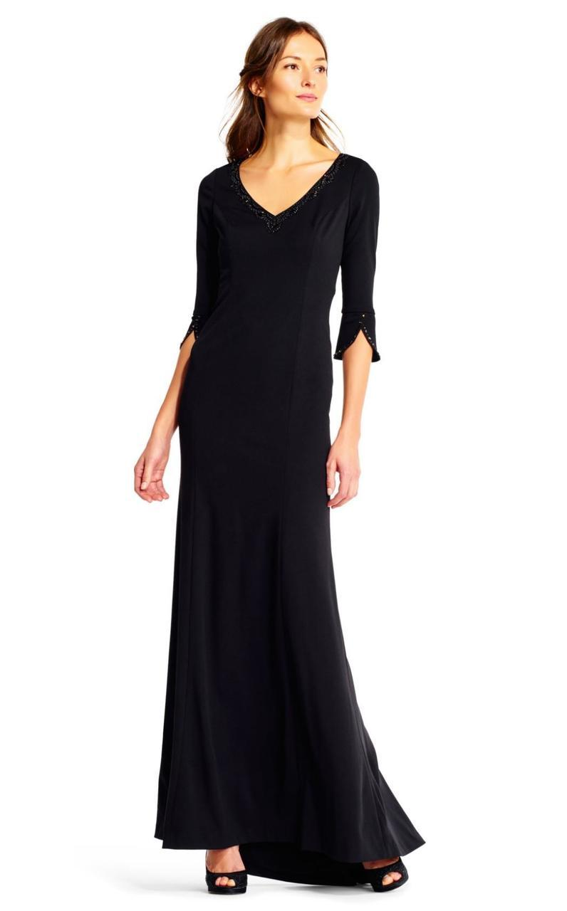 Adrianna Papell - AP1E201431 Embellished Long Sleeve Stretch Gown in Black