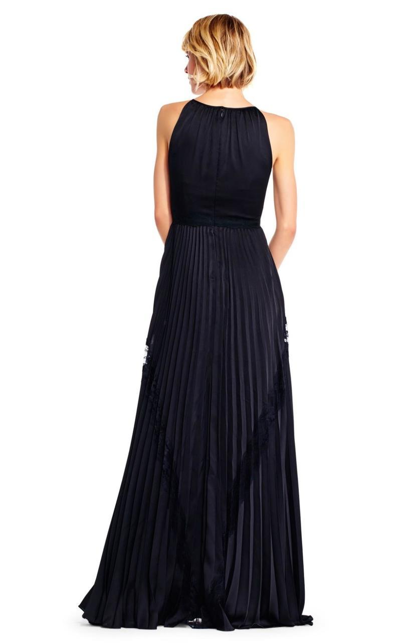 Adrianna Papell - AP1E201701 High Halter Keyhole Cutout Accordion Gown in Black