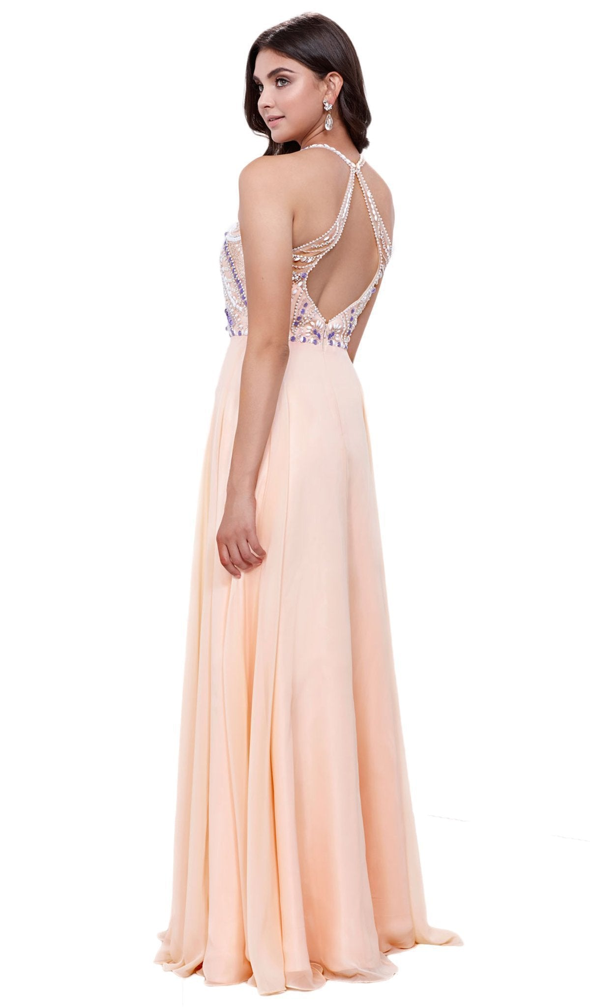 Nox Anabel - Bejeweled Halter Neck A-line Dress 8276SC