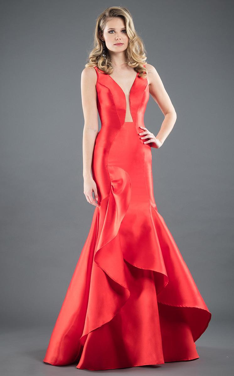 Rachel Allan Couture - 8286 Plunging V-neck Ruffled Mermaid Dress in Red