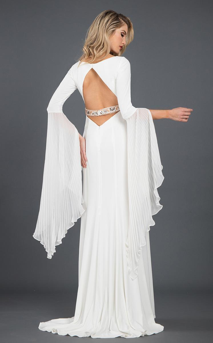 Rachel Allan Couture - 8268 Plunging V Neck Bell Sleeves Gown in White