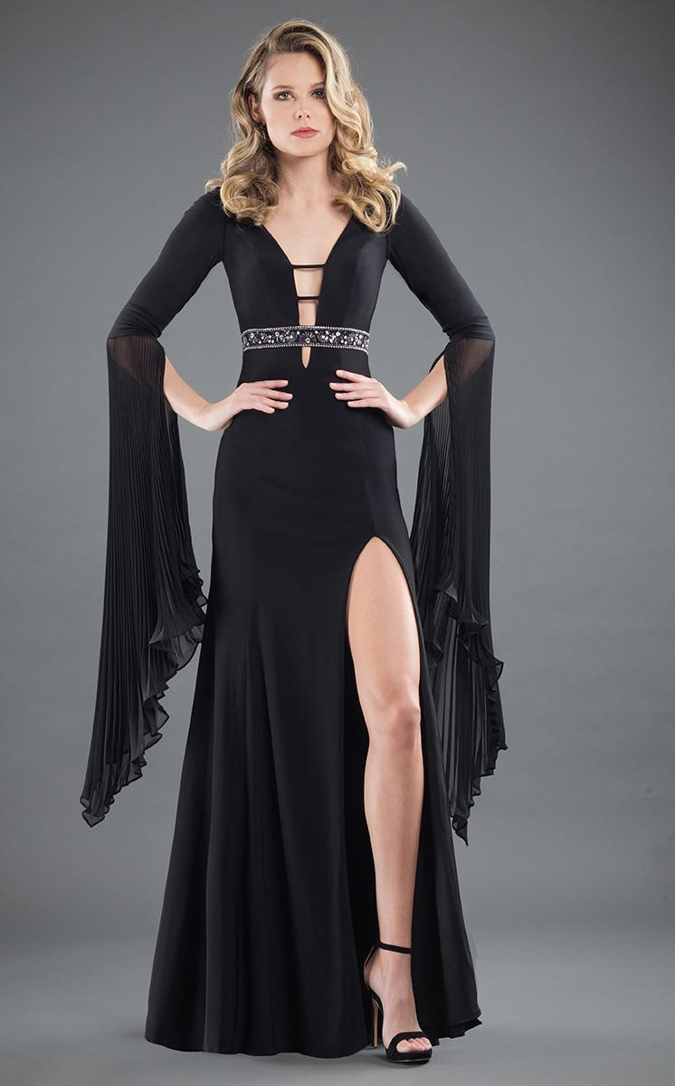 Rachel Allan Couture - 8268 Plunging V Neck Bell Sleeves Gown in Black