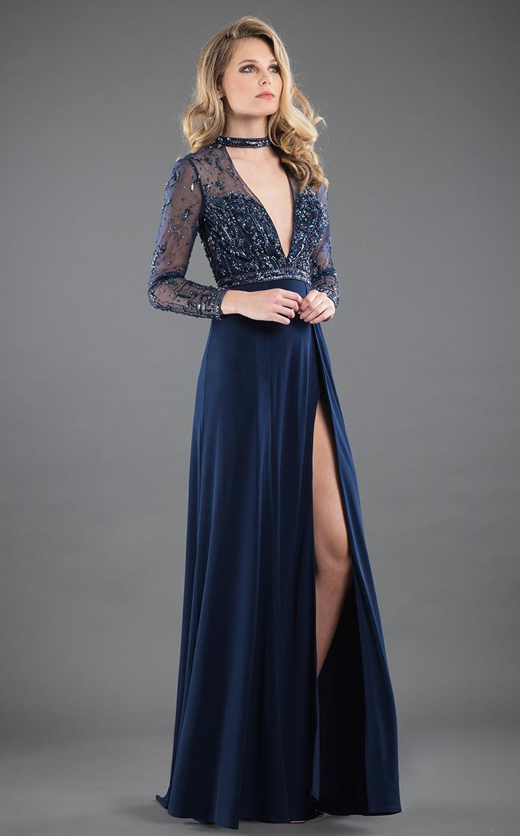 Rachel Allan Couture - 8285 Beaded Plunging Long Sleeve Gown in Blue