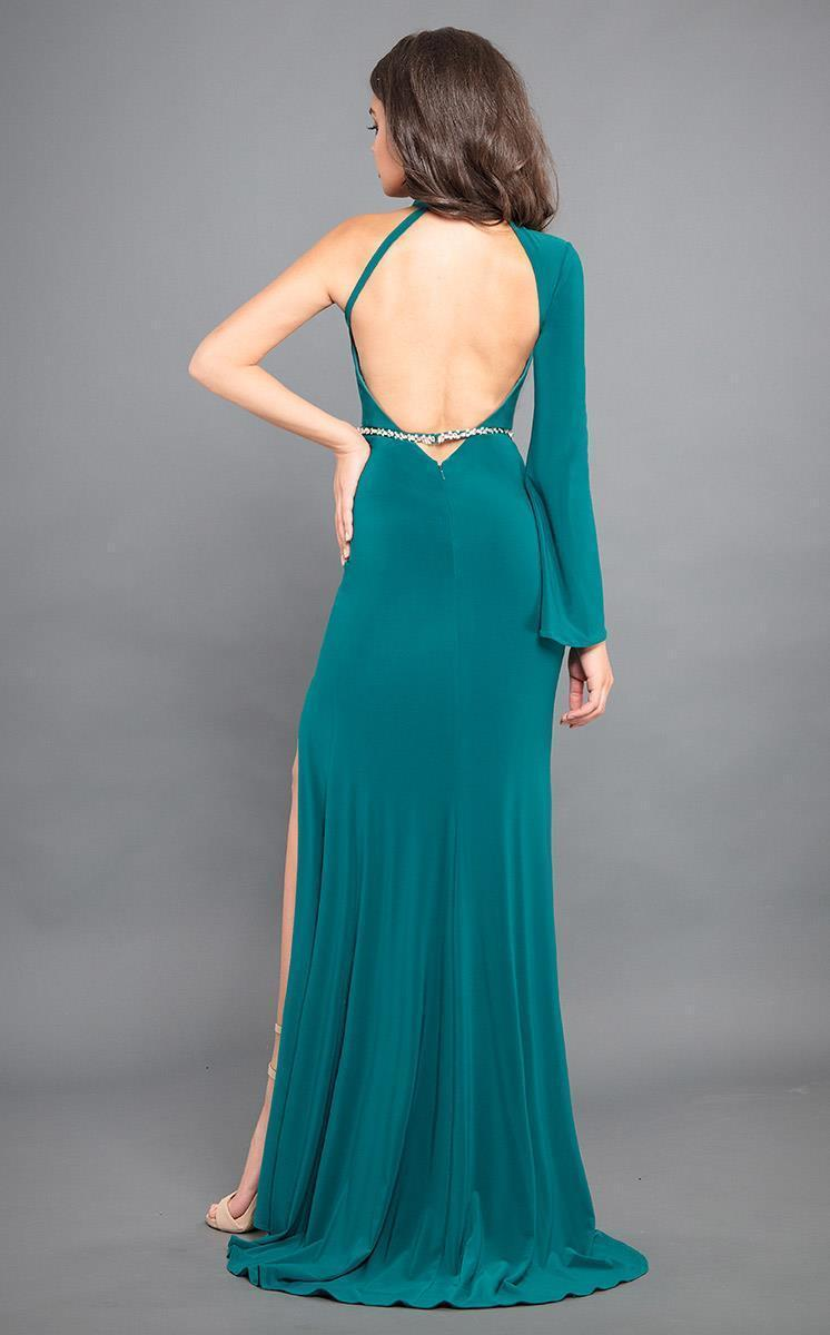 Rachel Allan Couture - 8313 Fitted High Neck One Shoulder Strap Dress in Green
