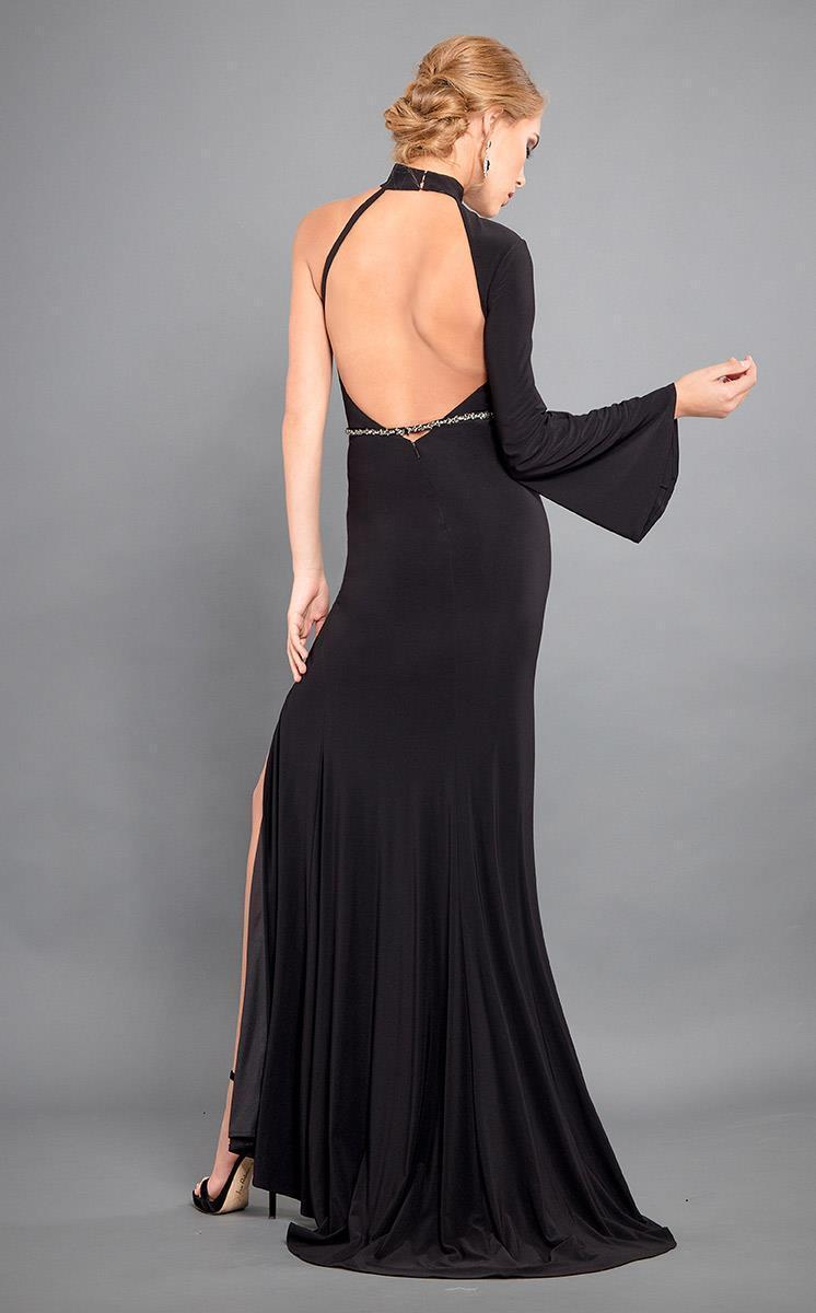Rachel Allan Couture - 8313 Fitted High Neck One Shoulder Strap Dress in Black