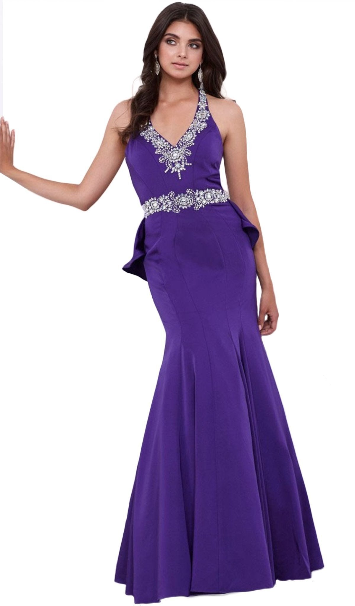 Nox Anabel - Bedazzled V-neck Satin Mermaid Dress 8315SC