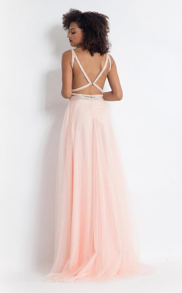 Rachel Allan - 6118 Strappy Open Back Beaded Top Tulle Gown In Pink