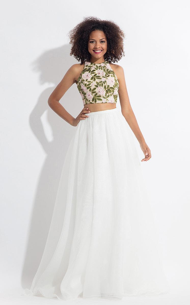 Rachel Allan - 6151 Floral Embroidered Two Piece Halter Gown in White
