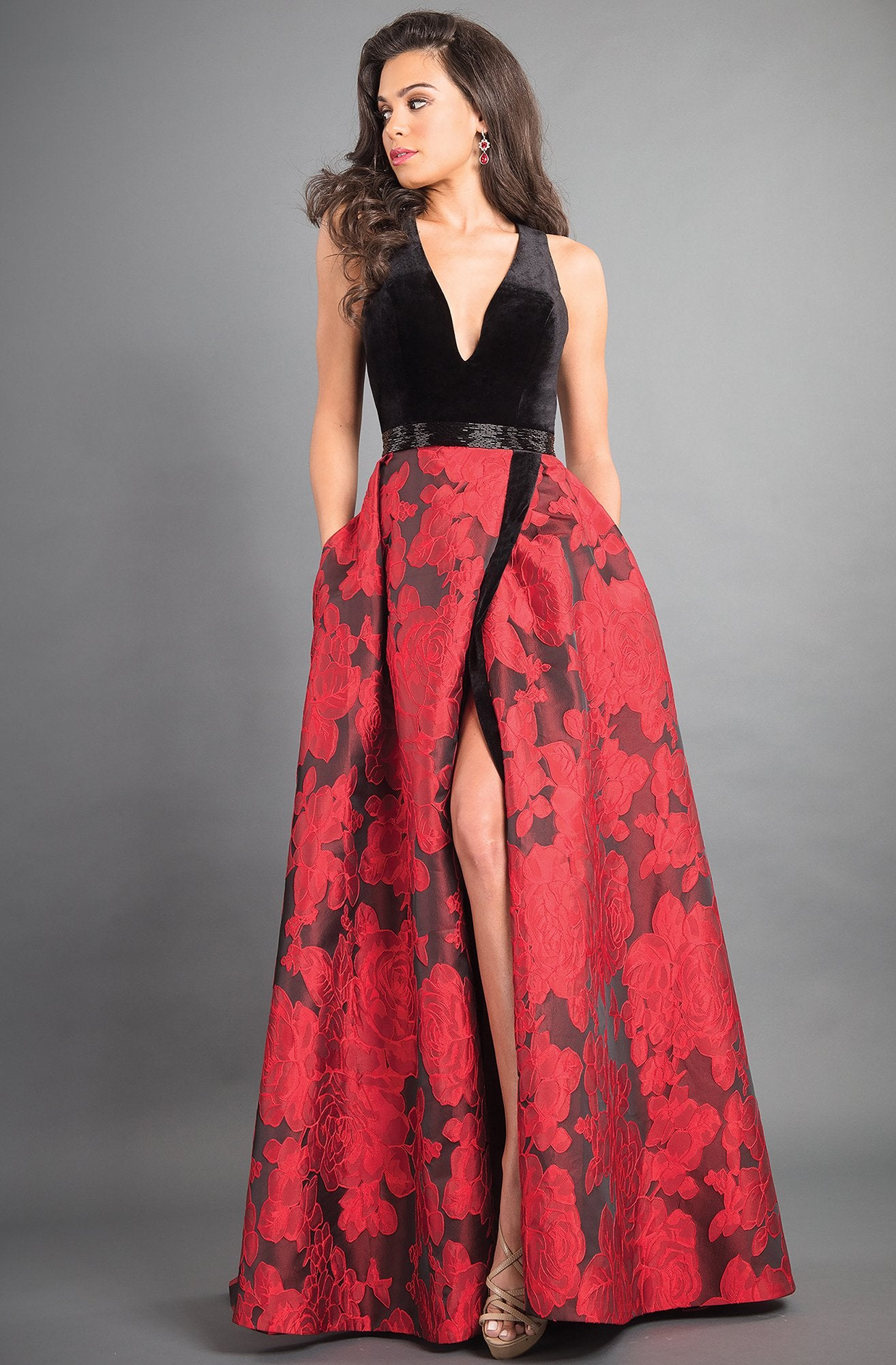 Rachel Allan - 8340 Plunging A-Line Evening Gown with Slit In Black and Red
