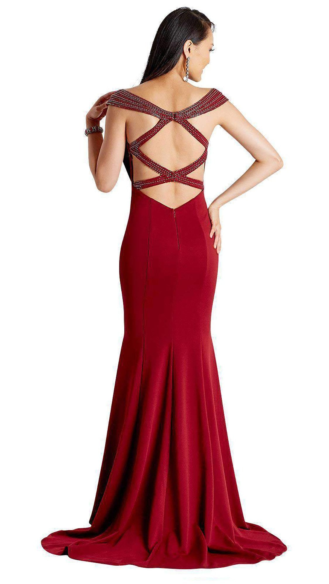 Clarisse - Beaded Crisscross Strapped Trumpet Dress 3432SC