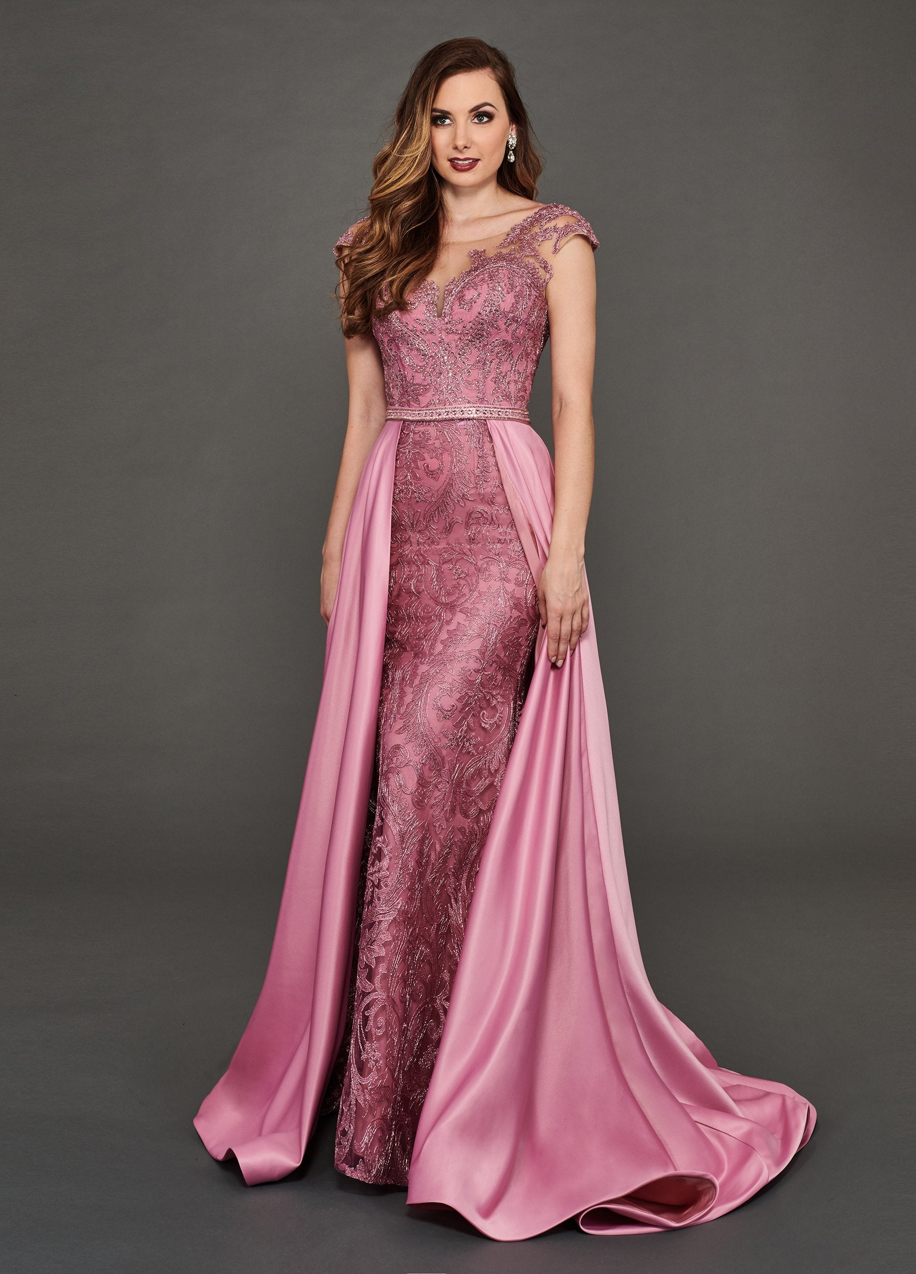 Rachel Allan Couture - 8389 Embroidered Dress With Overskirt In Pink